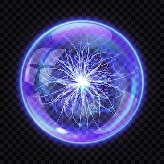 Magische kugel mit elektrischem blitz nach innen, realistisch