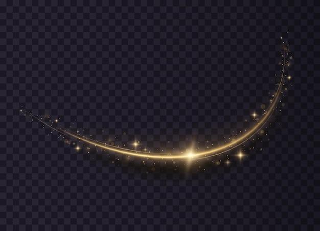 Magische lichtspuren abstrakte weihnachtsdekoration glühender glitzer funkelt