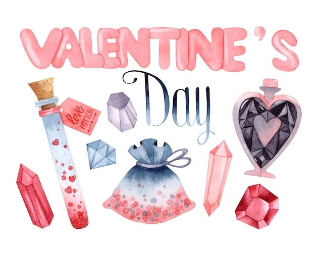 Magische liebe aquarellelemente setzen isolierte valentinstagskarte