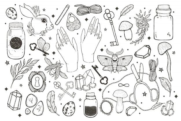 Magische satzillustration des skizzenvektors grafisch mit mystischer und geheimnisvoller hand gezeichneten symbolen.