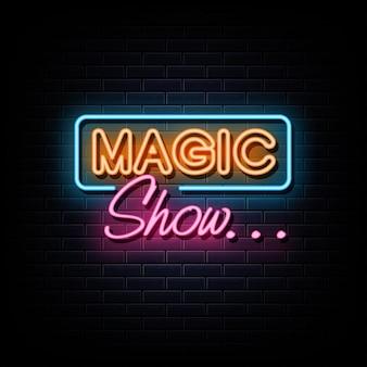 Magische show neon logo leuchtreklame und symbol