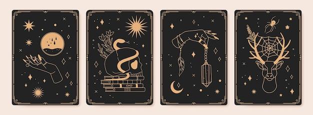 Magische spirituelle tarotkarten mit mystischen okkulten symbolen