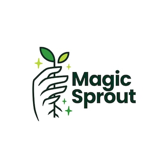 Magische sprossblattwachstumshandlogoschablone