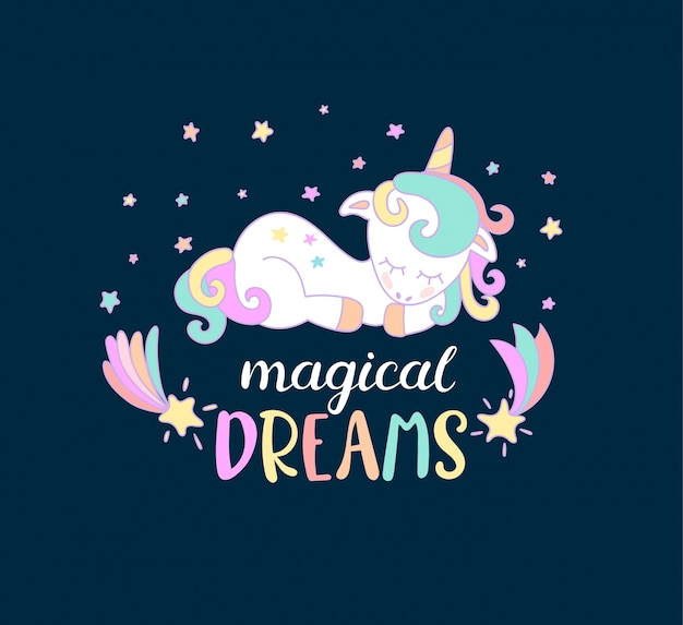 Magische träume von einhörnern.
