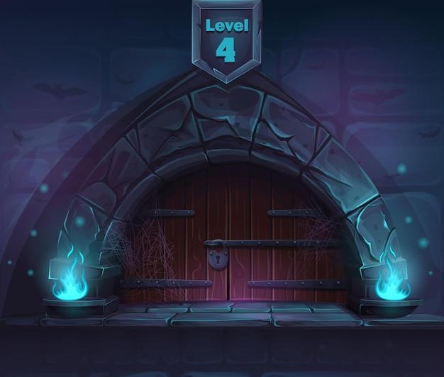 Magische tür im nächsten 4. level. für spiele, benutzeroberfläche, design.