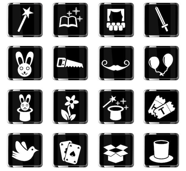 Magische websymbole für das design der benutzeroberfläche