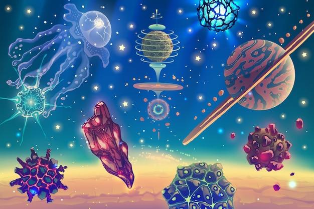Magische weltraumlandschaft mit fantasieplaneten, sternen, sonne, galaxien, asteroiden über tiefblauem kosmischen himmel