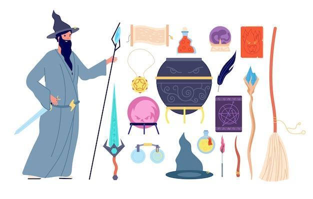 Magische werkzeuge. magisches alchemiebuch, zauberercharakter, kristallhexenbesen-trankflasche. männliche mysteriöse person, magiervektorillustration. hexerei und zauberbuch, esoterik und mysterium