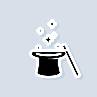 Magischer aufkleber. zauberstab-zauberhut-symbol. illusionist, partyservice oder eventagentur. vektor auf isoliertem hintergrund. eps 10.