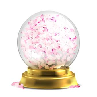 Magischer ball mit dem rosa blumenblattvektor lokalisiert