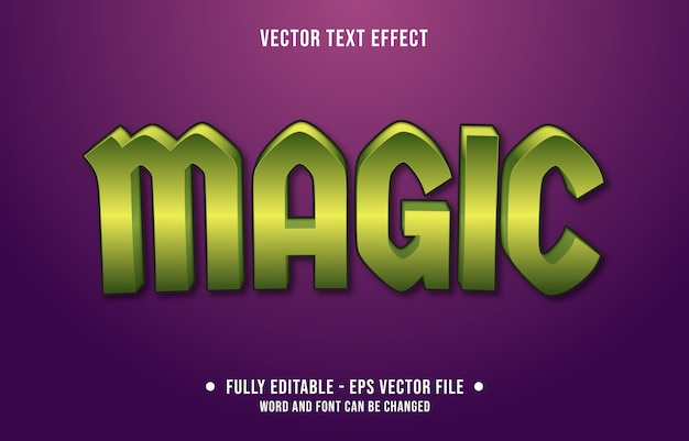 Magischer bearbeitbarer texteffekt im modernen verlaufsstil