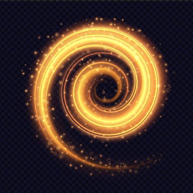 Magischer brennender lichtspiraleneffekt lokalisiert auf transparentes