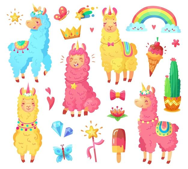 Magischer charakter der regenbogenwild lebenden tiere streichelt karikaturillustrationssatz