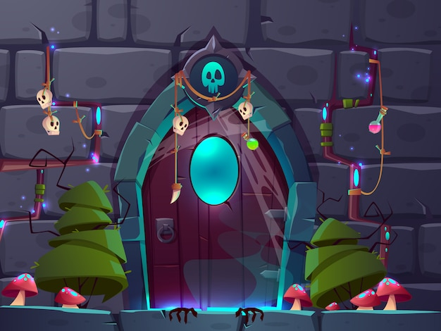 Magischer eingang oder portal im fantasieweltkarikaturvektor.