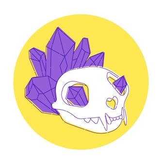 Magischer hexenschädel eines tieres mit magischen kristallen