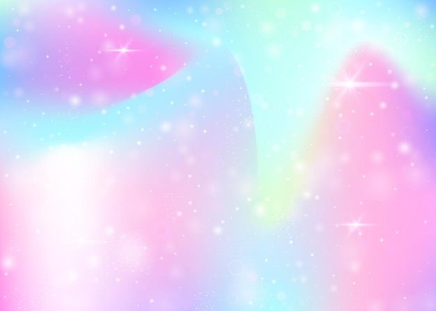 Magischer hintergrund mit regenbogenmasche. kawaii universum banner in prinzessinnenfarben. fantasiesteigungshintergrund mit hologramm. holographischer magischer hintergrund mit feenfunkeln, sternen und unschärfen.