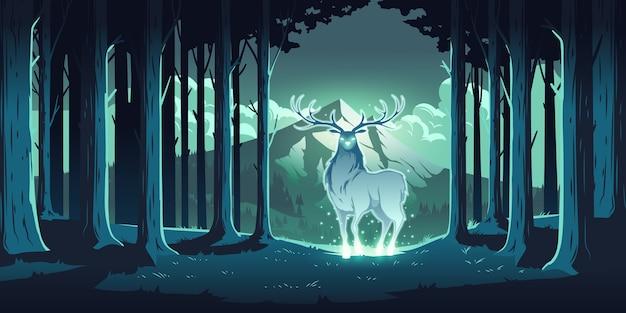 Magischer hirsch im nachtwald, mystischer hirsch mit leuchtenden augen und körper, seele der natur, holzschutz, totemtier an bäumen und berglandschaft, majestätisches rentier, karikaturillustration