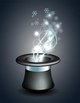 Magischer hut mit dem glühen und den schneeflocken