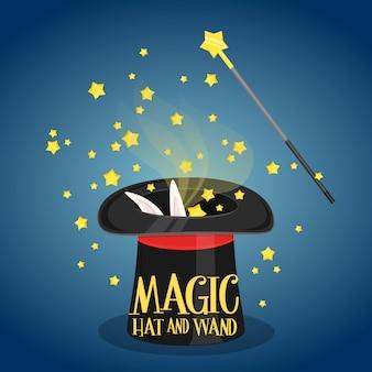 Magischer hut und zauberstab mit scheinen