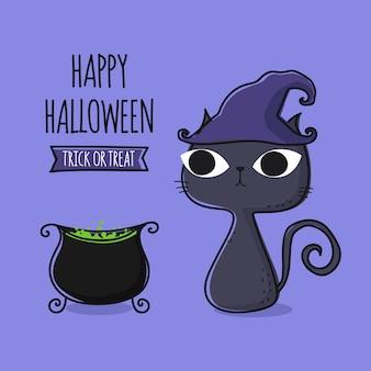 Magischer kessel der netten katzenkarikatur und magischer hexenkessel