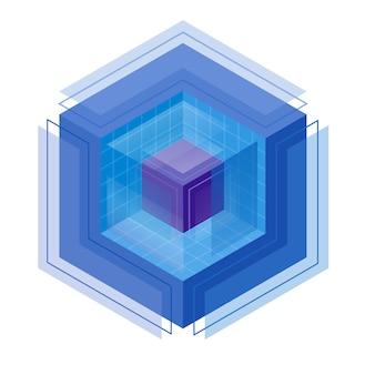 Magischer kristall mit kubischem isometrischem logo.