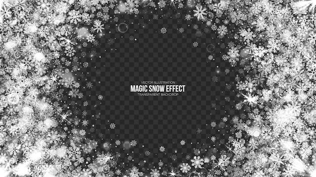 Magischer rahmen-weihnachtshintergrund des schnee-3d