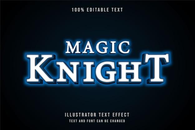 Magischer ritter, bearbeitbarer moderner neonstil der blauen abstufung des texteffekts 3d