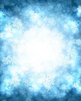 Magischer schnee des weihnachtswinter-hintergrundes funkelt lichter und schneeflocken