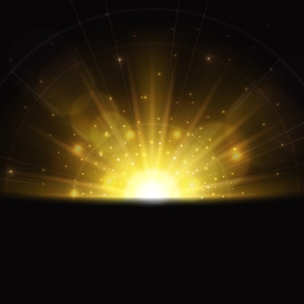 Magischer sonnenaufgang lichteffekt