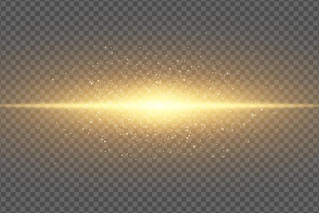 Magischer stilvoller lichteffekt auf einem transparenten hintergrund. abstrakter goldener blitz. glühender fliegender staub. neongoldlinie. schimmernde partikel fliegen.