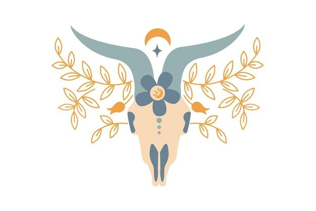 Magischer vintage-farb-widderschädel mit blume, zweig der blätter, mond, stern lokalisiert auf weißem hintergrund. flache vektorgrafik. böhmisches design für stammesdesign, einladung, web, textil, tapete