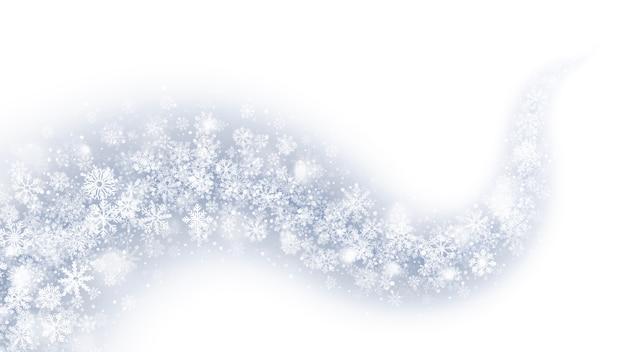 Magischer wirbelnder schnee-effekt-zusammenfassungs-weiß-hintergrund