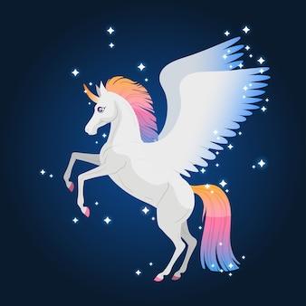 Magisches einhorn mit regenbogenschwanz. magisches leuchten. magische illustration mit einem pferd für mädchen