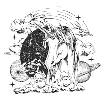 Magisches einhorn tattoo