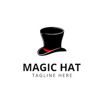 Magisches hutlogo schwarzes logoikonendesign-vektorillustration