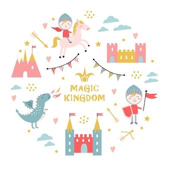 Magisches königreich. drache, burg, ritter.