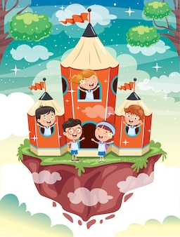 Magisches konzeptdesign mit lustigen kindern