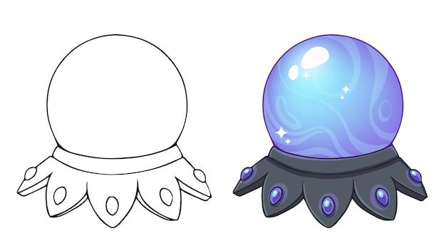 Magisches kristallkugel-symbol. hand gezeichnete illustration, malbuch