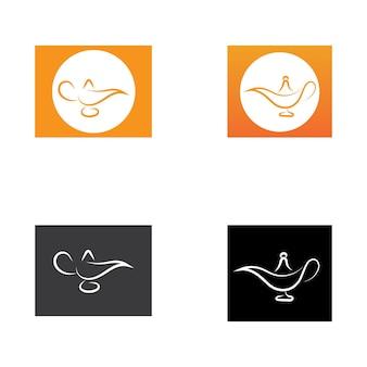 Magisches lampenlogo und symbolvektorbild