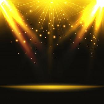 Magisches Licht mit Gold platzte auf der Bühne