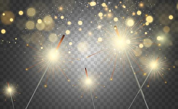 Magisches licht wunderkerze funkelnd auf dem hintergrund realistischer vektorlichteffekt winter