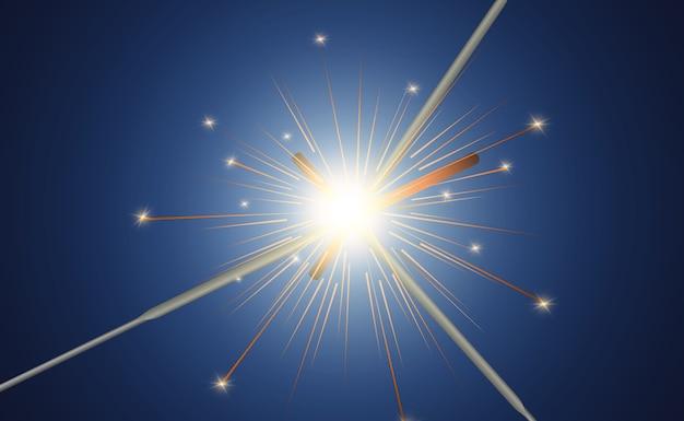 Magisches licht. wunderkerze. kerze funkelt auf dem hintergrund. realistischer lichteffekt.