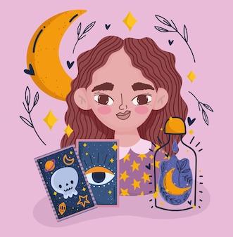 Magisches mädchen mit mystischer wahrsager-karikatur der tarotkarte