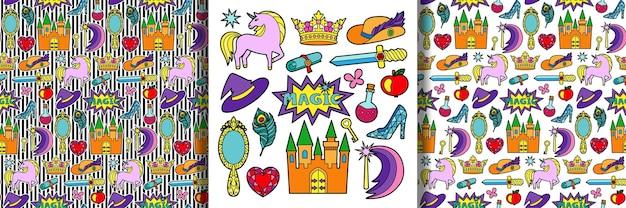 Magisches märchen-patch-set und nahtlose muster