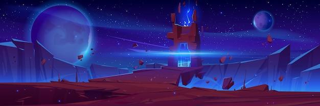 Magisches portal auf der weltraumlandschaft des fremden planeten