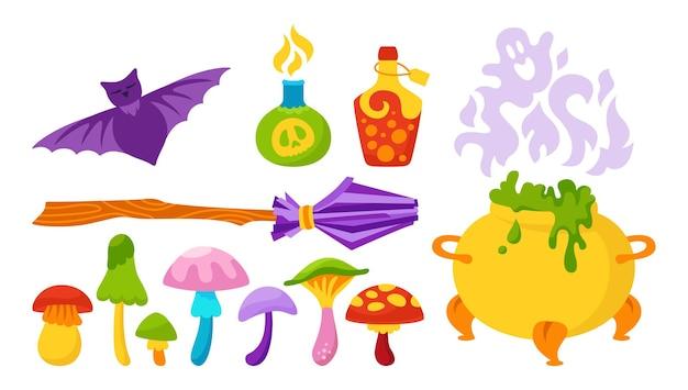 Magisches set halloween flache karikatur hexe elemente hag kesselfledermaus giftiger pilz zauberer besen