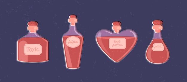 Magisches set von trankflaschen