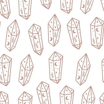 Magisches und himmlisches nahtloses muster mit magischem kristall