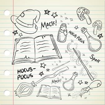 Magisches zeug im doodle-stil