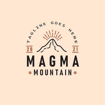 Magma mountain logo-design-vorlage mit retro-hipster-linien-kunst-vektorillustration der bergexplosion